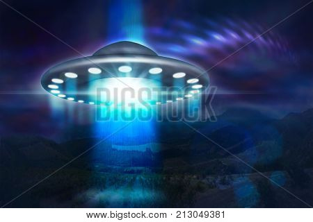 Low key image of UFO hovering over a mountains at night. UFO spaceship with light beam. 3d illustration.