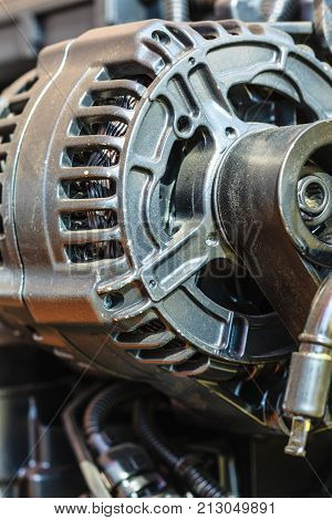 Detailed Closeup Of Alternator Generator Machine Engine