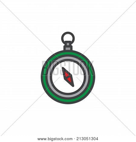 Compass filled outline icon, line vector sign, linear colorful pictogram isolated on white. Navigation symbol, logo illustration. Pixel perfect vector graphics