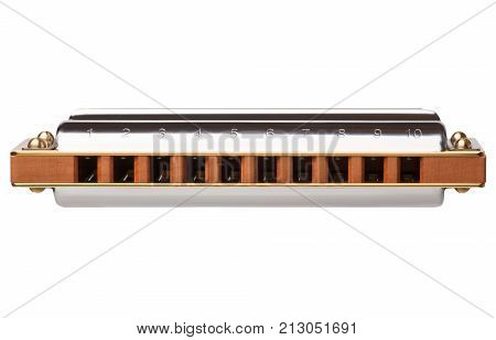 Diatonic harmonica front view isolated on white background