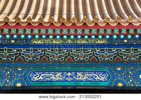 Ornate roof beams at the Forbidden City Beijing
