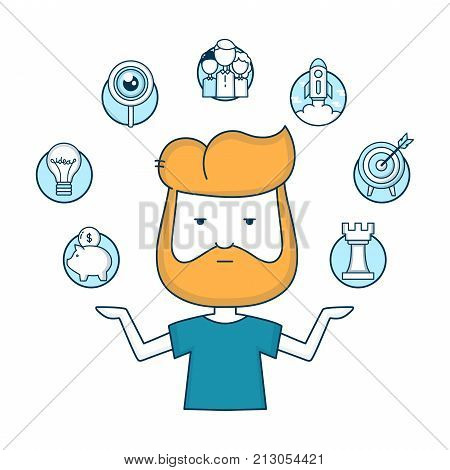 Young start-up hipster businessman with start-up icons. Vector cartoon modern flat line outline character illustration. Isolated on white background. Business concept