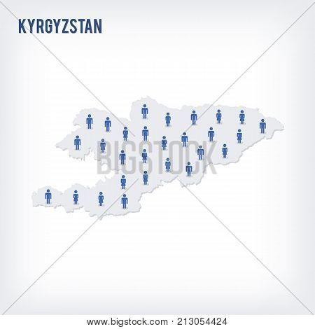 Vector People Map Of Kyrgyzstan . The Concept Of Population.
