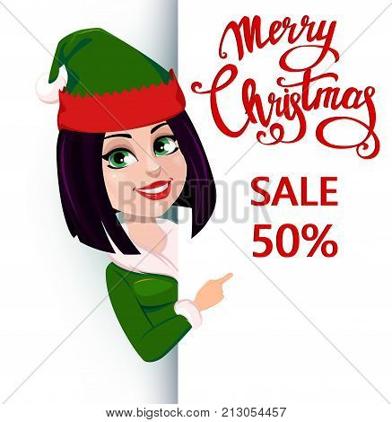 Merry Christmas and Happy New Year. Elf woman standing behind a sign and showing on placard with lettering. Happy smiling cartoon character. Vector illustration on white background