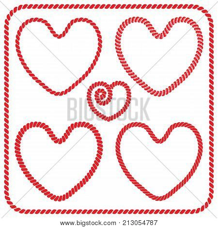 Vector set of twisted rope frames and square frames heart shaped. Collection of romantic frames of red color for decoration and design of post cards for St. Valentine's day wedding and holiday invitations