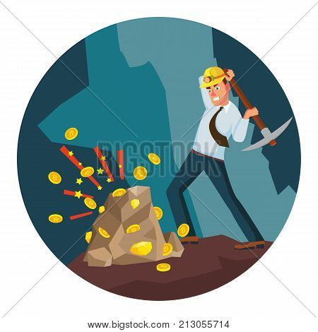 Miner Young Male Vector. Mining Gold Coins. Cryptocurrency Concept. Isolated On White Cartoon Character Illustration