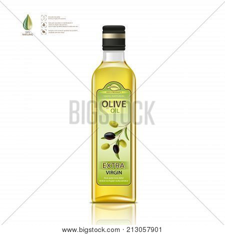Glass bottle with olives oil. Package label design. Isolated on white background. Healthy vegetarian product. Stock vector illustration.