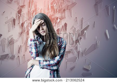 Stressed Woman On Abstract Background