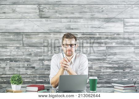 Attractive Business Man Working On Project