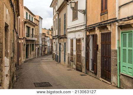 Street of the old town of Arta on Majorca island (Balearic Islands, Spain)