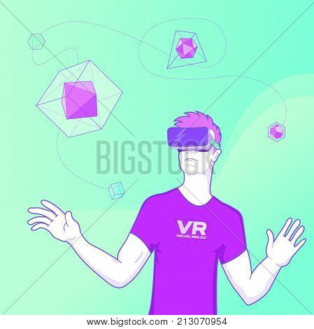 Man using virtual reality glasses and touching vr interface. Vector illustration with geometric figures, man and virtual reality glasses.