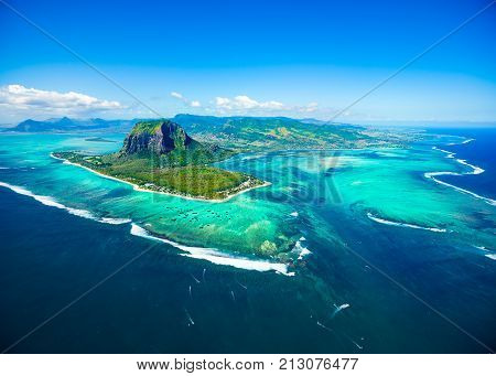 Aerial view of Mauritius island panorama and famous Le Morne Brabant mountain beautiful blue lagoon and underwater waterfall