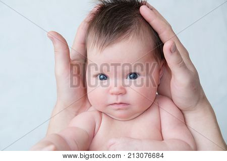 newborn baby portrait in fathers hands happy fatherhood