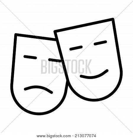 Comedy and tragedy theatre masks line icon. TV, video symbol. 96x96 for Web Graphics and Apps.  Simple Minimal Pictogram. Vector