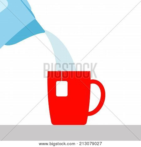 vector illustration. the boiling water pouring from the electric kettle into the Cup. brewing tea or coffee. a hot beverage.