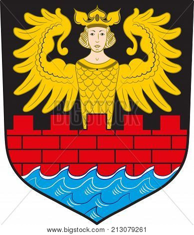 Coat of arms of Emden is a town and seaport in Lower Saxony in the northwest of Germany. Vector illustration