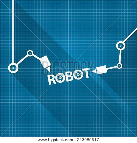 Vector robotic arm vector photo free trial bigstock vector robotic arm symbol on blueprint paper background robot hand technology background design template malvernweather Image collections