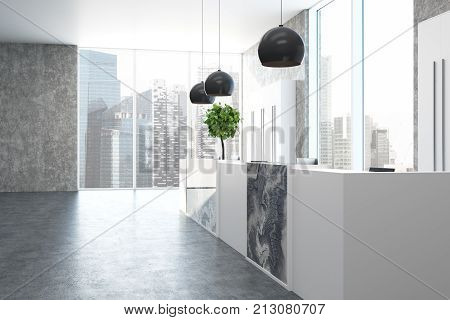 Concrete And Marble Office, Reception Side