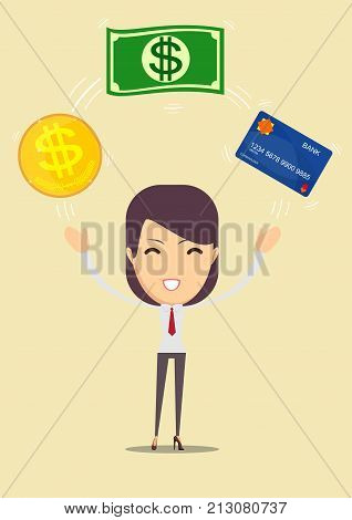 Business woman Displaying a money and cash card. financial advisor. Stock vector illustration for poster, greeting card, website, ad, business presentation, advertisement design.