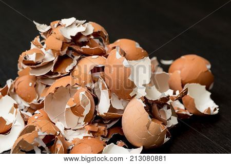 Bunch of eggshell. Eggs shell food background