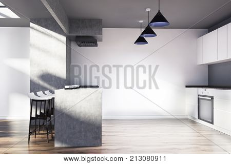 White And Gray Kitchen Interior