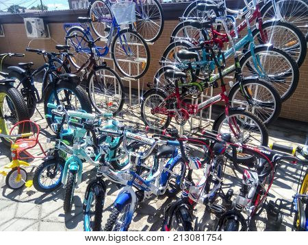 Sale Of Bicycles In The Street. Market For The Sale Of Bicycles.
