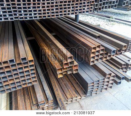 Metalwork Profile Tubing. Steel Bars Of Rolled Metal.