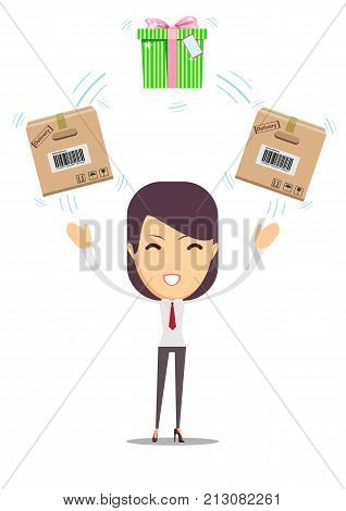 woman with cardboard box and gift box. Stock flat vector illustration.