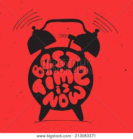ringing alarm clock with light texture and lettering about best time is now. Time vector Concept illustration. Present moment concept letters with alarm isolated on red background