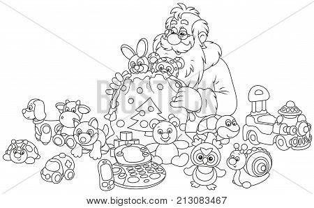 Santa Claus putting Christmas gifts for children in his bag