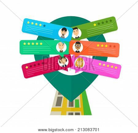 Review rating bubble speeches place on the map.map pin. Vector modern style cartoon character illustration avatar icon design. concept of decision, feedback evaluation, messages