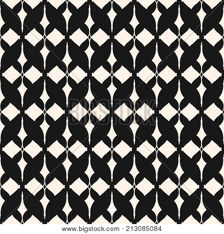 Ornament seamless pattern. Black and white ornamental texture with lattice, mesh, lace. Oriental style abstract monochrome background. Elegant geometric design for prints, fabric, decor. Stock vector