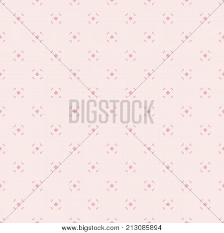 Cute vintage minimalist pattern for girls in trendy pink color palette. Vector abstract geometric seamless background with tiny floral shapes. Subtle repeat texture. Design for decor, textile, fabric. Floral texture. Pink texture. Abstract texture.