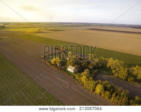 Above Agricultural Fields In Autumn Sunset