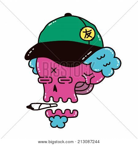 Dope skull in a cap smoke marijuana blunt. Vector modern style illustration. Dope print design for t-shirt