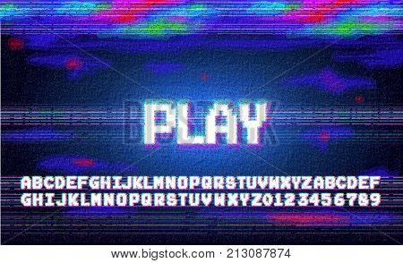 Vector play alphabet letters font phrase in pixel art style with screen glitch VHS effect. 80's and 90's style. Retro vintage TV screen. Gamer panel basic platform. Color half-shifted letters.
