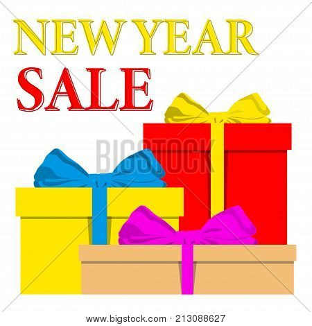 Newr Yea Sale poster with pile of colorful wrapped gift boxes and ribbon bow. Colorful bright vector flat illustration for xmas gift card, certificate, banner background