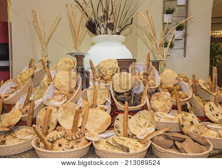 Ornate Bread Display At A Restaurant Buffet