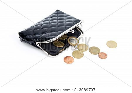 Coins From The Old Wallet On A White Background. Vintage Empty Purse. The Concept Of Poverty In Reti