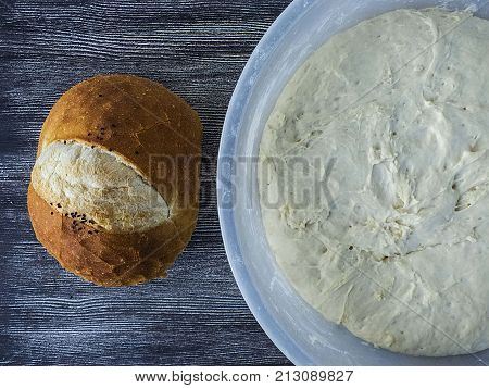 Pictures of leavened dough and baked bread