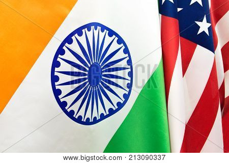 Usa Flag And The Flag Of The Republic Of India . Relations Between The Countries .