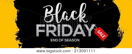 Black Friday abstract black ink splash banner template illustration. Black friday sale grunge label.