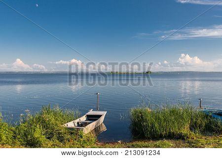 Boat on the big lake Nero in Rostov