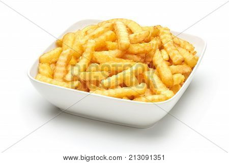 Fried Potato Fries, Isolated On White Background.