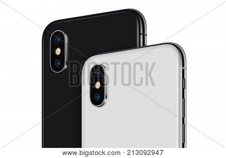 Smartphones similar to iPhone X back side rotated closeup. New modern black and white rotated smartphones back side with camera module isolated on white background.