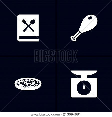 Collection Of Pepperoni, Weighing Machine, Poultry Foot And Other Elements.  Set Of 4 Cooking Icons Set.