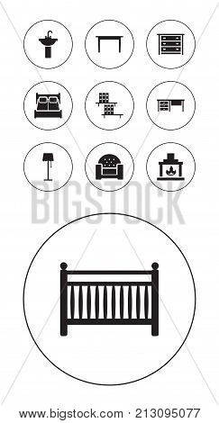 Collection Of Chimney, Bedroom, Desk And Other Elements.  Set Of 10 Decor Icons Set.