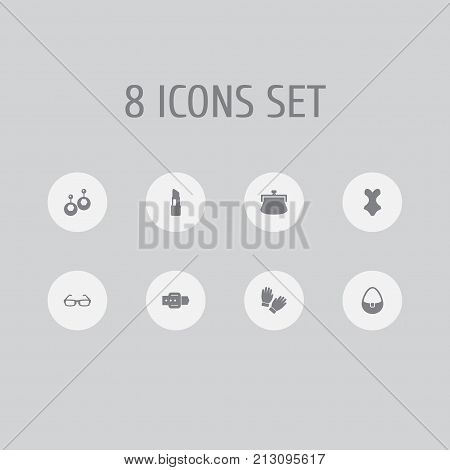 Collection Of Purse, Beachwear, Mitten And Other Elements.  Set Of 8 Decorating Icons Set.