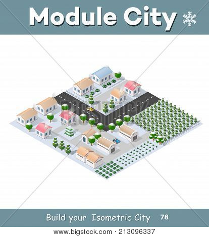 Isometric module of the modern 3D city. Winter landscape snowy trees streets. Three-dimensional views of houses buildings and urban areas with transport roads intersections