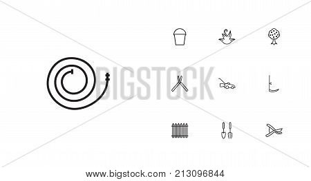 Collection Of Instruments, Garden, Pail And Other Elements.  Set Of 10 Horticulture Outline Icons Set.
